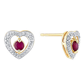 9ct Yellow Gold Diamond & Treated Ruby Heart Stud Earrings - Product number 3031268