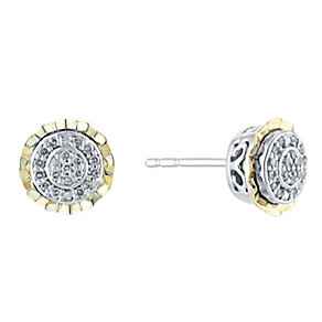 Silver & 9ct Yellow Gold Round Diamond Cluster Earrings - Product number 3031284