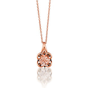 14ct Strawberry Gold Peach Morganite & Diamond Pendant - Product number 3031292