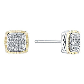 Silver & 9ct Yellow Gold Square Diamond Cluster Earrings - Product number 3031306