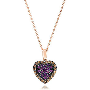 14ct Strawberry Gold Grape Amethyst & Diamond Heart Pendant - Product number 3031322