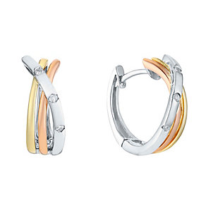Silver, 9ct Gold & Diamond Three Colour Triple Hoop Earrings - Product number 3031330