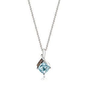14ct Vanilla Gold Sea Blue Aquamarine & Diamond Pendant - Product number 3031349
