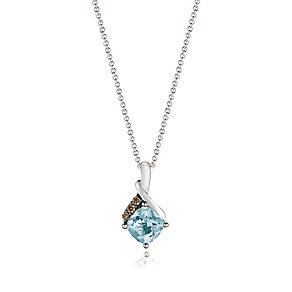 14ct Vanilla Gold Sea Blue Aquamarine & Diamond Pendant - Product number 3031349