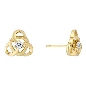 9ct Yellow Gold Triangular Twist Diamond Stud Earrings - Product number 3031357
