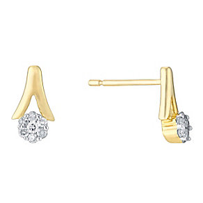 9ct Yellow Gold & Round Diamond Cluster Stud Earrings - Product number 3031365