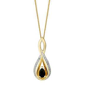 9ct Yellow Gold Sapphire & Diamond Twist Pendant - Product number 3031373