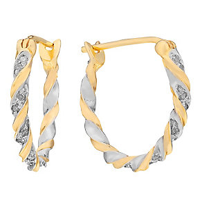 9ct Yellow Gold Diamond Twist Hoop Earrings - Product number 3031381