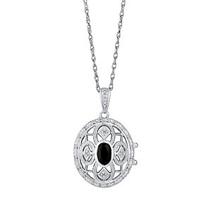 Sterling Silver Sapphire & Diamond Cut Away Round Locket - Product number 3031403