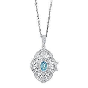 Sterling Silver Blue Topaz & Diamond Cut Away Locket - Product number 3031438