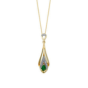 9ct Yellow Gold Diamond & Emerald Drop Pendant - Product number 3031446