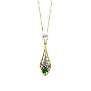 9ct Yellow Gold Diamond & Emerald Drop Pendant - Product number 3031446