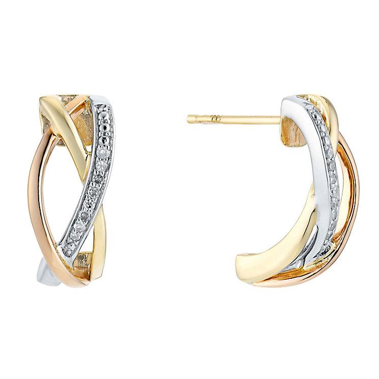 9ct Three Colour Gold Diamond Crossover Triple Hoop Earrings