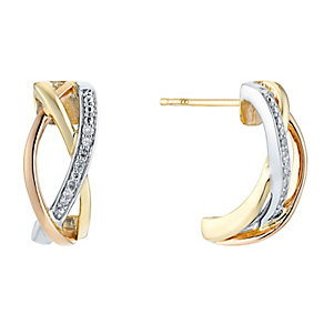 9ct Three Colour Gold Diamond Crossover Triple Hoop Earrings - Product number 3031470