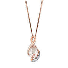 9ct Rose Gold Morganite & Diamond Twist Teardrop Pendant - Product number 3031489