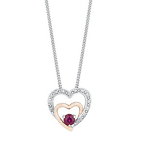 Silver & 9ct Rose Gold Diamond & Treated Ruby Heart Pendant - Product number 3031500