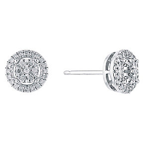 9ct White Gold Round Diamond Cluster Stud Earrings - Product number 3031519