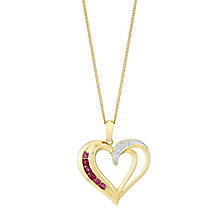 9ct Yellow Gold Diamond & Ruby Heart Pendant - Product number 3031527