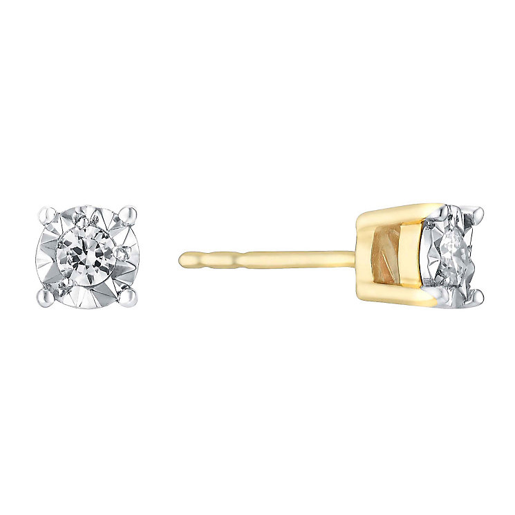 9ct Yellow Gold Illusion 0.10 Carat Diamond Stud Earrings - Product number 3031543