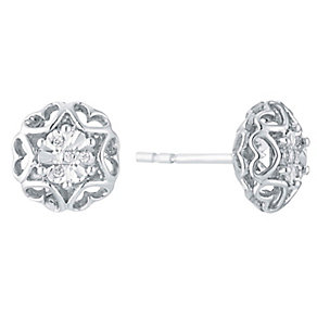 Silver Illusion Set Heart Surround Diamond Stud Earrings - Product number 3031551