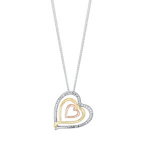 Silver & 9ct Gold Three Colour Diamond Triple Heart Pendant - Product number 3031586