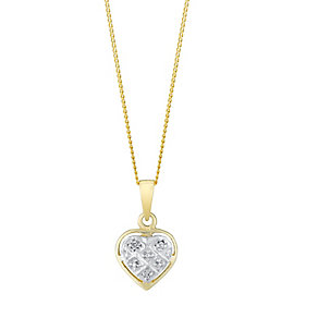 9ct Yellow Gold & Diamond Lattice Heart Pendant - Product number 3031594
