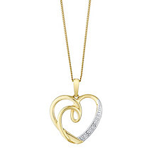 9ct Yellow Gold & Diamond Swirl Heart Pendant - Product number 3031608