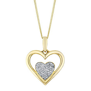 9ct Yellow Gold Diamond Cluster Double Heart Pendant - Product number 3031632