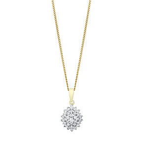 9ct Yellow Gold 1/3 Carat Diamond Cluster Pendant - Product number 3031640