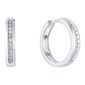 Sterling Silver Channel Set Diamond Hoop Earrings - Product number 3031691