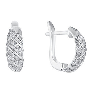 Sterling Silver Diagonal Set Diamond Hoop Earrings - Product number 3031705