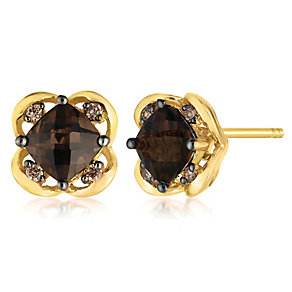 14ct Honey Gold Chocolate Quartz & Diamond Earrings - Product number 3031748