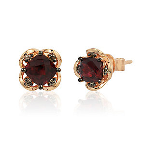 14ct Strawberry Gold Raspberry Rhodalite & Diamond Earrings - Product number 3031756