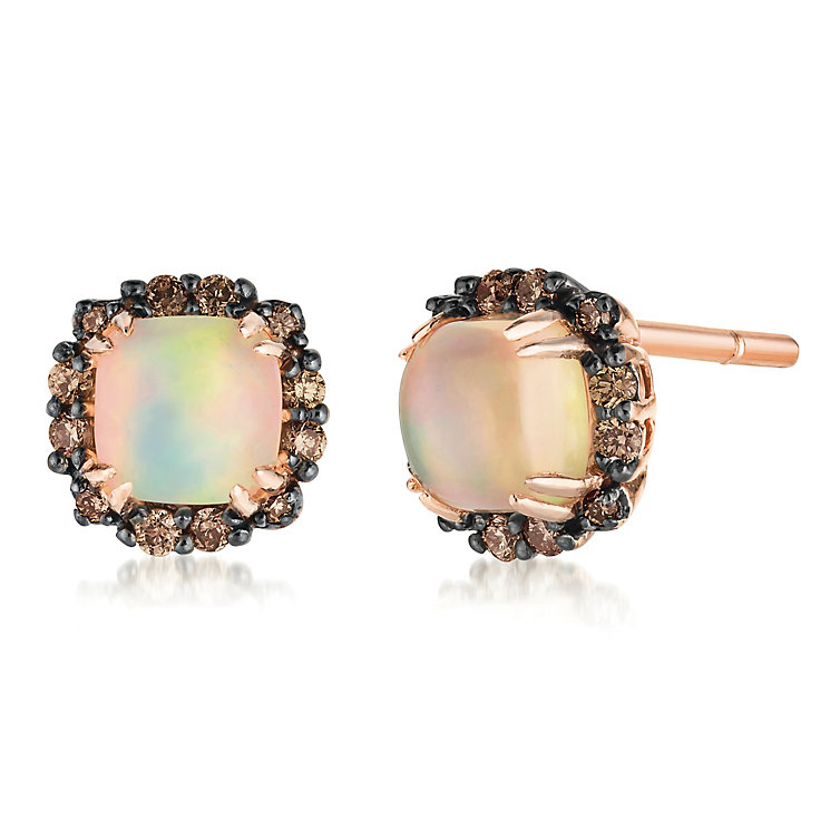 14ct Strawberry Gold Chocolate Opal & Diamond Earrings - Product number 3031772