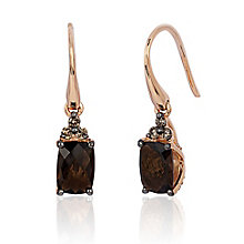 14ct Strawberry Gold Chocolate Quartz & Diamond Earrings - Product number 3031829