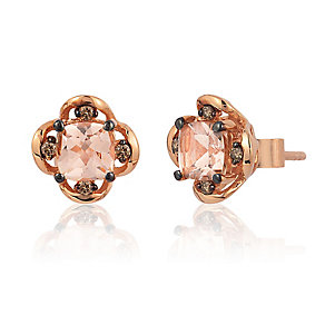 14ct Strawberry Gold Peach Morganite & Diamond Earrings - Product number 3031845