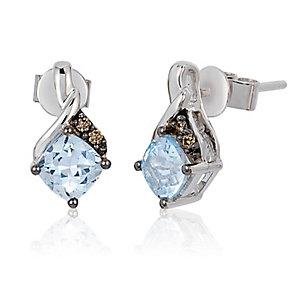 14ct Vanilla Gold Sea Blue Aquamarine & Diamond Earrings - Product number 3031853