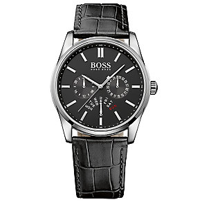 Hugo Boss men's stainless steel black leather strap watch - Product number 3032418