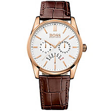 Hugo Boss men's gold-plated brown leather strap watch - Product number 3032434