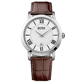 Hugo Boss men's stainless steel brown leather strap watch - Product number 3032493
