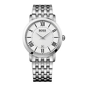 Hugo Boss men's stainless steel white dial bracelet watch - Product number 3032531