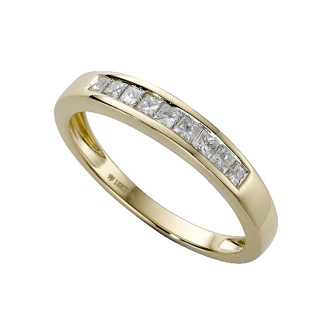 18ct gold 30 point diamond half-eternity ring