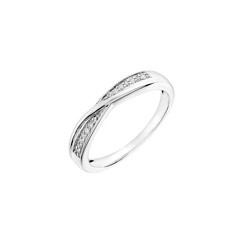 9ct white gold 7pt diamond crossover band - Product number 3046176