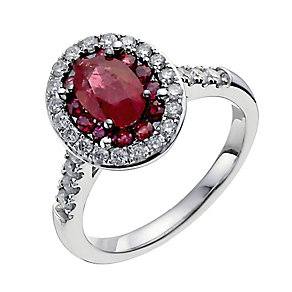 18ct white gold ruby & 50pt diamond oval ring - Product number 3046389