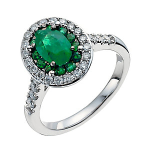 18ct white gold oval emerald & half carat diamond ring - Product number 3046516
