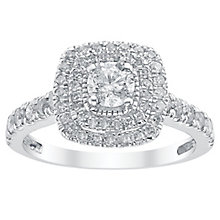 18ct White Gold 1ct Cushion Cut Diamond Halo Ring - Product number 3047520