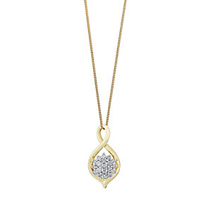 9ct Yellow Gold Figure of Eight Diamond Cluster Pendant - Product number 3048136
