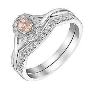Perfect Fit 9ct White Gold Morganite & Diamond Bridal Set - Product number 3048152
