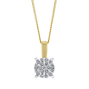 9ct Yellow Gold 0.07 Point Round Diamond Cluster Pendant - Product number 3048322