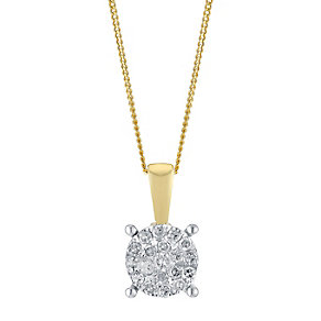 9ct Yellow Gold 0.10 Point Round Diamond Cluster Pendant - Product number 3048330